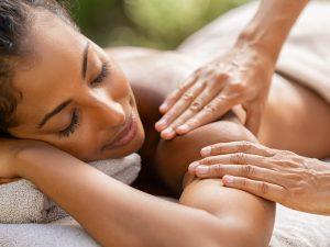 Person enjoying a relaxing massage in london